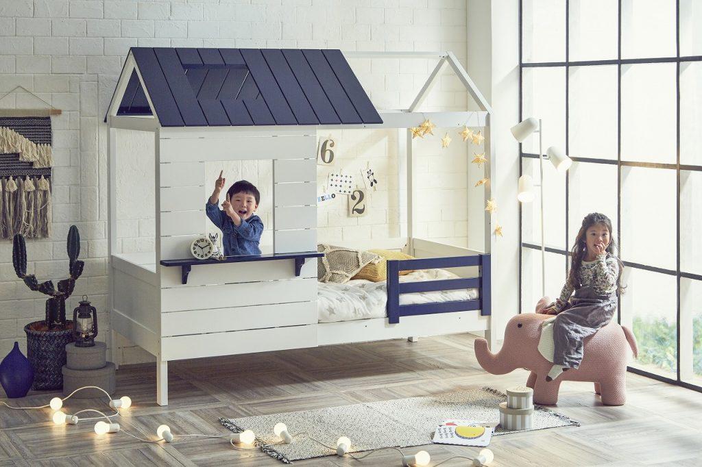 キッズ向けハウス型ベッド「僕たちの秘密基地-プティ・アパート-」シングルベッドタイプイメージ写真